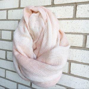 Martha Stewart Pale Pink Cream Stripe Knit Wrap